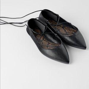 Zara Black Tied Ballet Flats Size 6.5 NWTS
